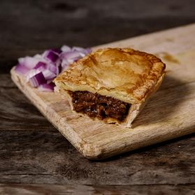 Beef & Onion pie made with locally sourced beef and vegetables from local family owned farm.