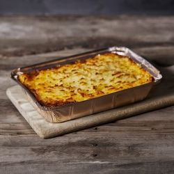 Whole family size cottage pie in metal tray