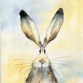 Limited Edition print of one of Becca Fielding's original watercolors of 'Paddy' the hare.