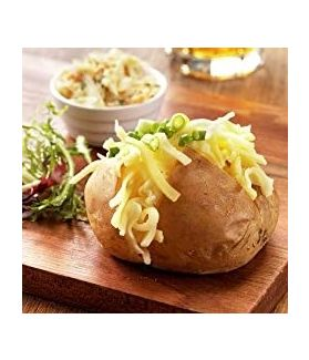 Mature Cheddar Jacket Potato - Timeless and traditional – the trusty baked potato and cheddar combo, all prepped and ready to go.