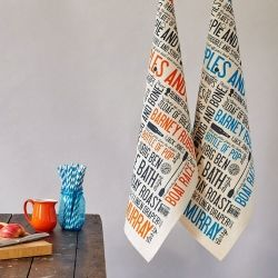 Cockney Rhyming Slang Tea Towel blue