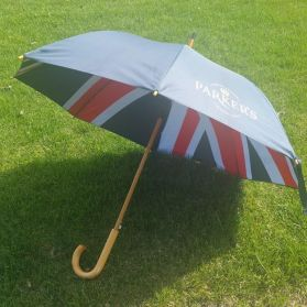 Union Jack Umbrella - A proper wooden-handled umbrella, complete with the Union Jack and a Parker's logo!