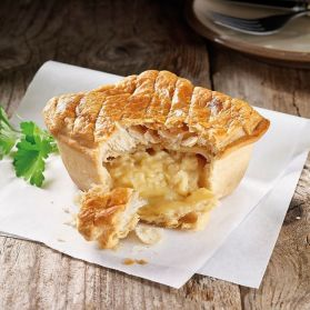 Cheese & Onion Pie -Gooey Cheese and sharp Onion combine perfectly with our smooth potato blend in this delicious puff pastry casing.
