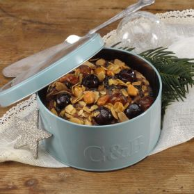 Cherry and Almond Decorated Round Fruit Cake in Tin - Cartwright & Butler