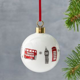 London Skyline Christmas Bauble - 100% Made in Britain bone china Christmas bauble by Victoria Eggs