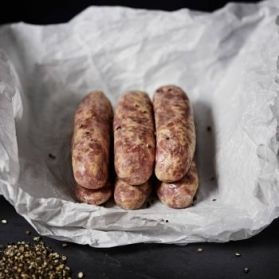 Old English Sausages made with pure steak cuts of pork, traditional British butcher's rusk, imported seasonings and all natural casing. Low in fat!