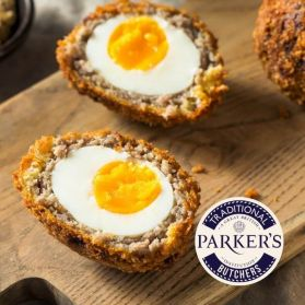 Red Dragon Scotch eggs handmade using pasture reared pork and specialty seasoning to cover free range eggs before adding the breadcrumbs.