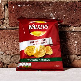 Walker's Tomato Crisps - Not everyone's cup of tea, but for diehard fans of ketchup this is a must have.